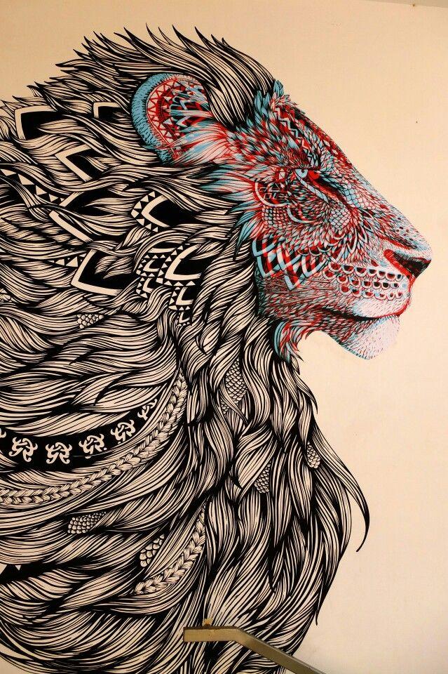 Zentangle Lion - Street Art: Paris 19 - rue d'Aubervilliers/espace 104 - Alex et marine