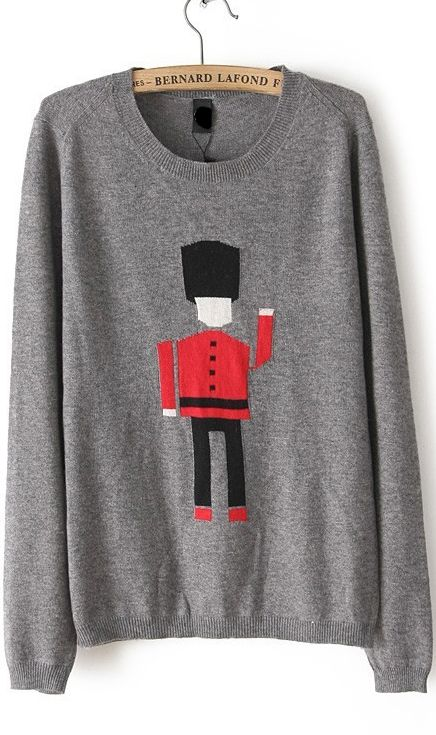 Soldiers embroidered sweater grey