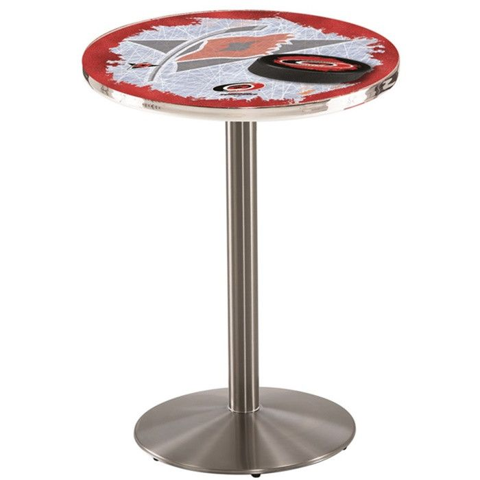 """Carolina Hurricanes NHL D2 Stainless Steel Pub Table. Available in 28"""" and 36"""" Table Top Widths. Visit SportsFansPlus.com for details."""