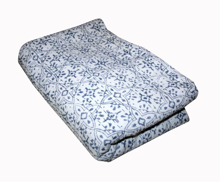 Indian Cotton Bedspread,Queen Size Blanket Hand Block Flroal Print Kantha Quilt, #Handmade #ArtDecoStyle
