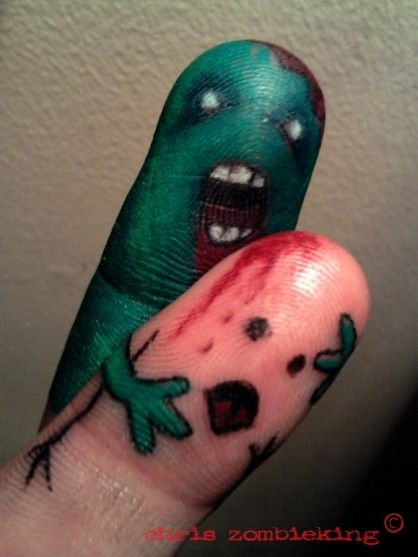 clever. zombie fingers tattoo funny