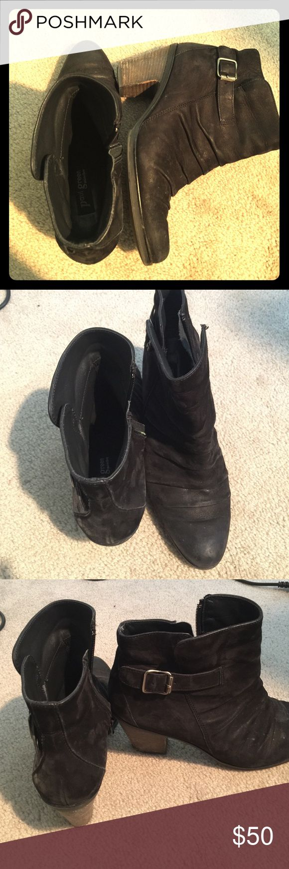 Paul Green black suede boot bootie Very comfortable Paul Green black suede bootie, ankle boot fits size 8.5, European size 6 on the sole.  Nice comfy heel height. Bought from Nordstrom. Paul Green Shoes Ankle Boots & Booties