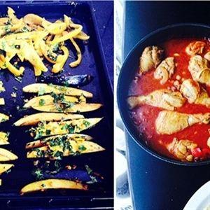 Een Oosterse maaltijd met kip en aubergine friet r