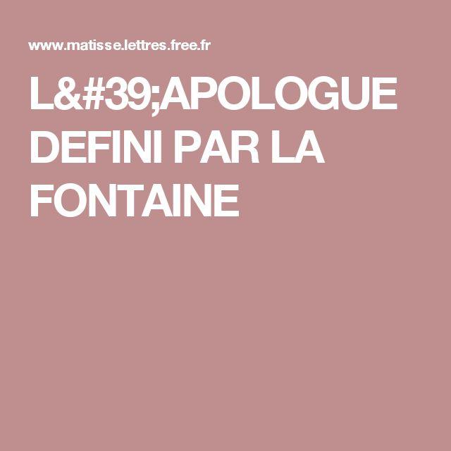 L'APOLOGUE DEFINI PAR LA FONTAINE