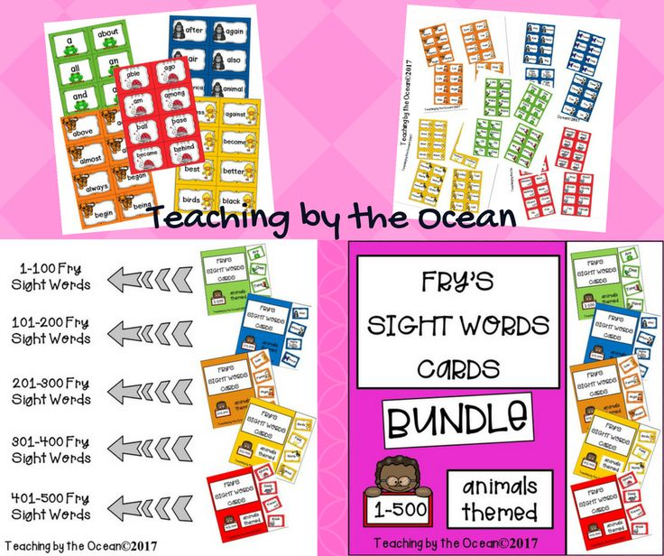 Sometimes flashcards are just what you need! You can use these Fry's Sight Words Cards Animals Themed BUNDLE for drill and practice during small group instruction, literacy centers or word wall display. You can also find some extra cards where you can hand write any words you need. This bundle contains the 1-500 sight words from Fry's Sight Words List. There are 8 cards per page. Each word card is animal-coded according to 25 word sets as well as color-coded according to 100 word sets. Just…