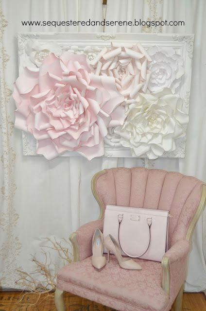 sequestered and serene: Romantic, Framed Handmade Paper Flowers
