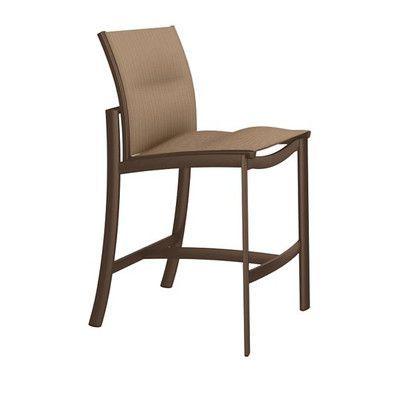 "Tropitone KOR 28"" Bar Stool Seat Color: East Wood, Frame Finish: Greco"