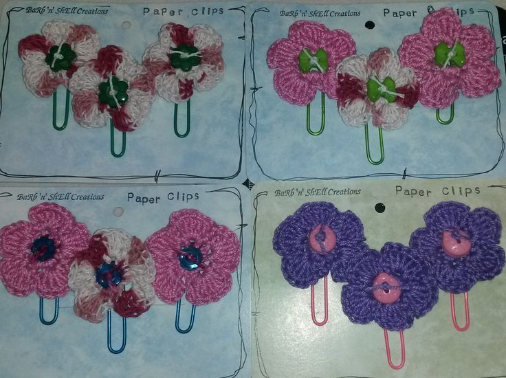 Barb'n'Shell Creations - Crocheted Flower Paper Clips featuring Flowers by Shell