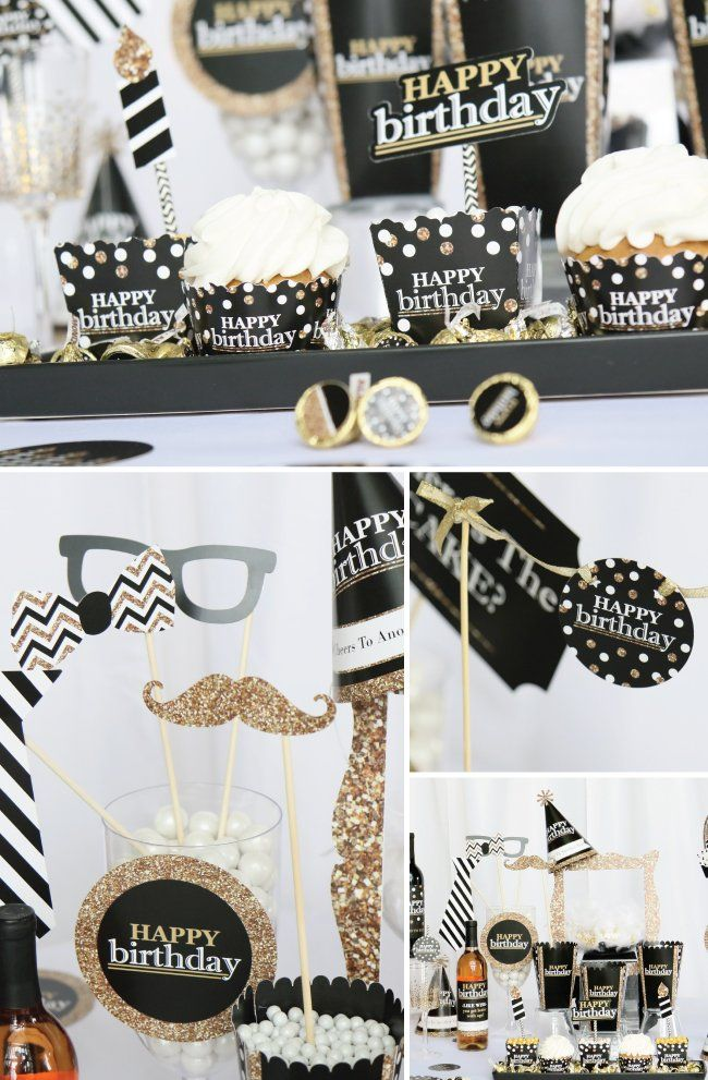 Adult Birthday Party Supplies Black And Gold Party Theme For Any Age Birthday Party Decorations For Adults 70th Birthday Parties 40th Birthday Parties