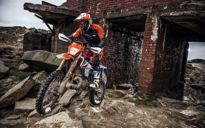Télécharger fonds d'écran KTM 250 EXC TPI Sixdays, 2018 vélos, coureur, crossbike, KTM