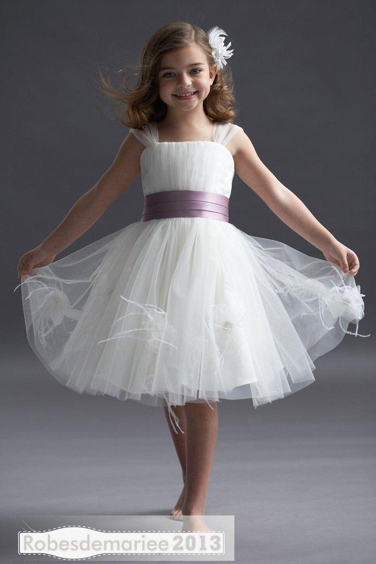 Magnifique A-ligne Princesse Robe Bretelles Longueur-genou Ruban cortège enfant