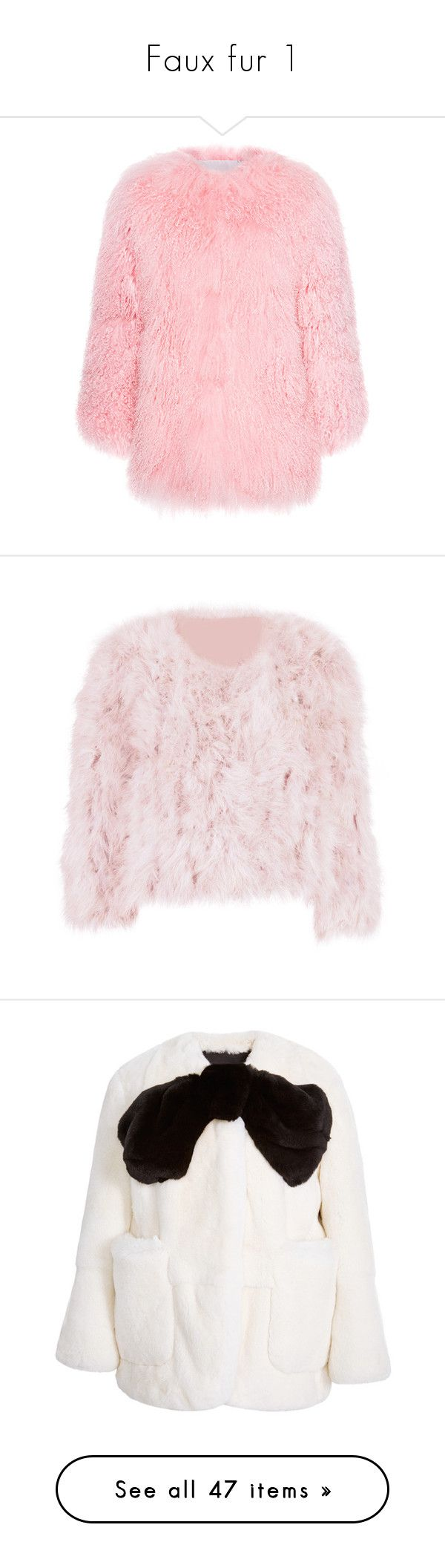 """""""Faux fur 1"""" by mgldemartino ❤ liked on Polyvore featuring outerwear, jackets, kurtki, pink, tops, pink feather jacket, feather jacket, pink jacket, bow jacket and rabbit jacket"""