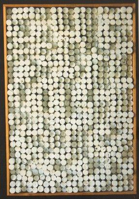 Radoslav Kratina / Zátky / 1964 / korek, nitroemail, sololit / 76 x 53 cm