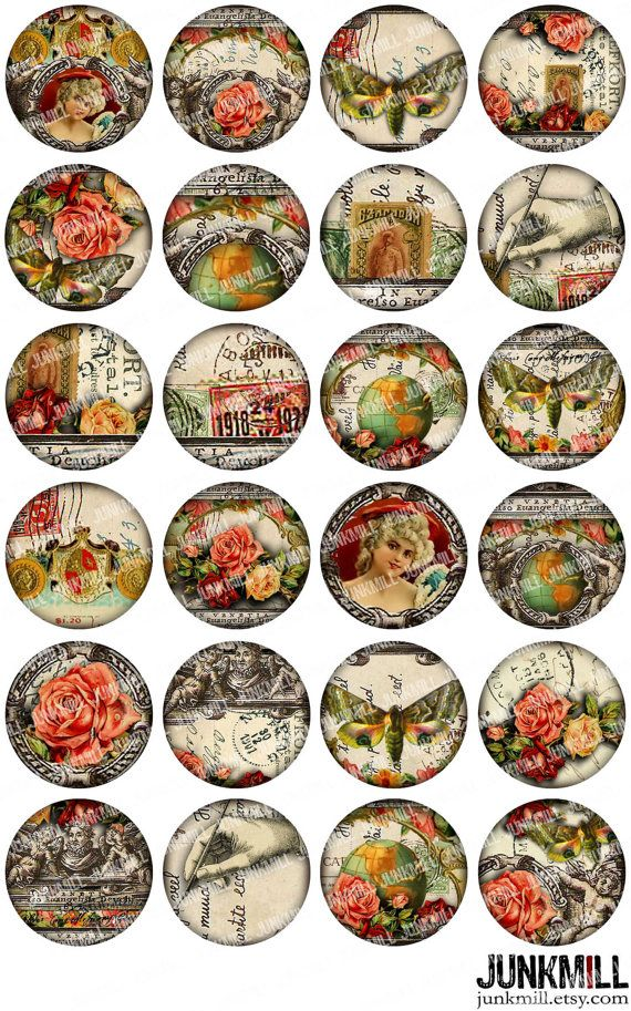 Collage Glass Cabochons Stickers