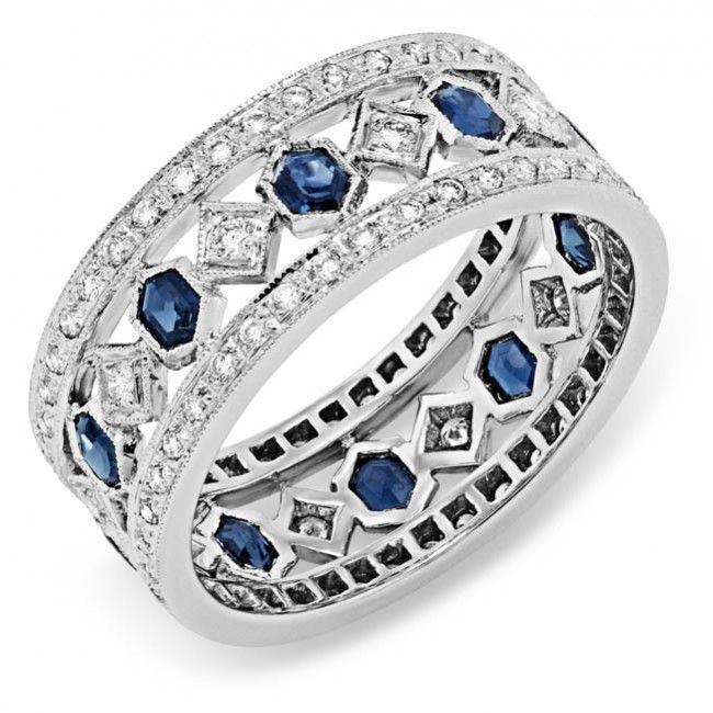 www.bkgjewelry.co… Diamond and Blue Sapphire Ring