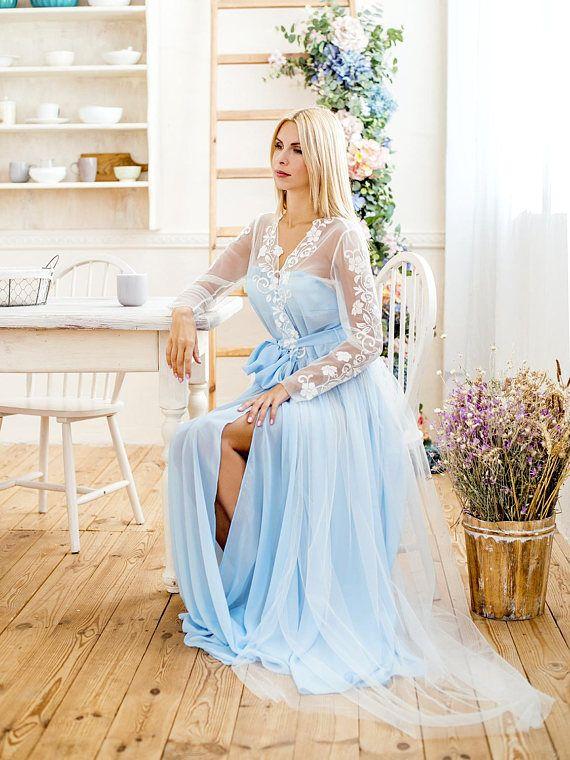 Hochzeits Gewand, Damen Bademantel, blaue Hochzeits Gewand, Tüll-Kleid, Spitze Gewand, Brautgeschenk, Gewand, Meine schöne Edith brautgewand Stil 1627R, atemberaubende Braut Boudoir-Gewand Diese Braut Robe ist wirklich umwerfend! Es ist auf jeden Fall ein muss sehen, seine wahre