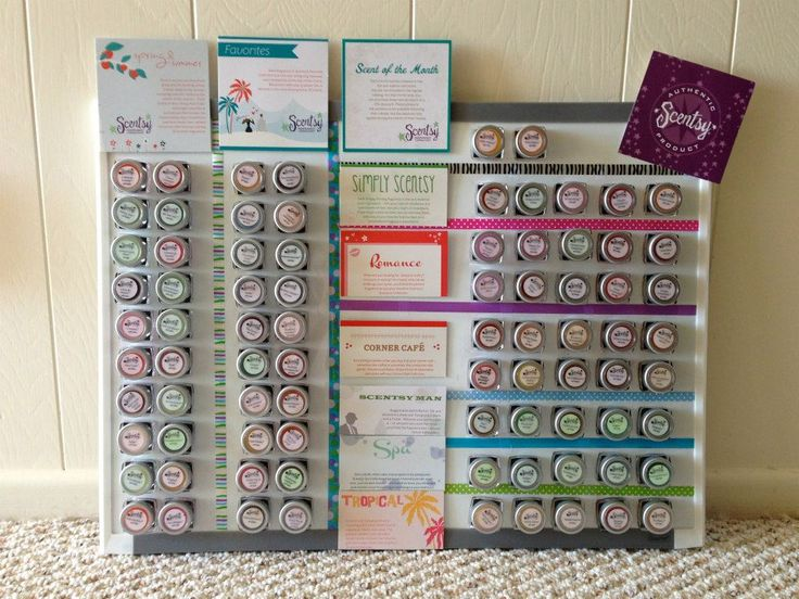 Magnets on small testers, displayed brilliantly on magnetic board. Add round stickers on back of lid to read scents better www.heidimcintosh.scentsy.us