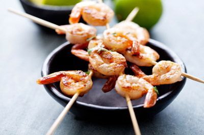 Coconut-lime shrimp skewers sharp http://goo.gl/BzKxPa