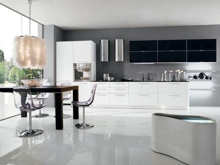 Modern White And Black Kitchen