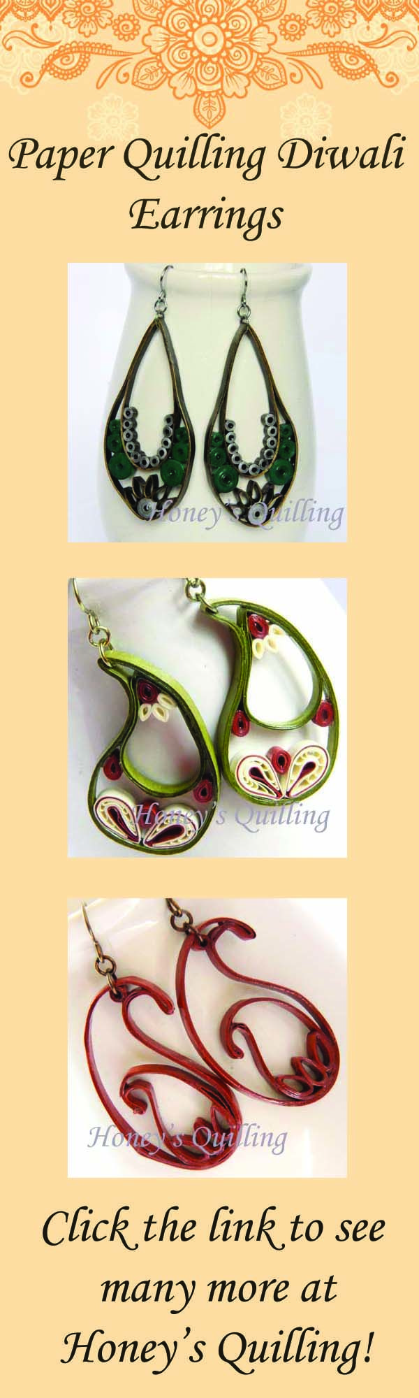 Click to view a great collection of Indian inspired paper quilling earrings, perfect for Diwali! - Honey's Quilling