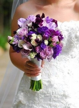 Wedding, Flowers, Bouquet, Purple, Brides