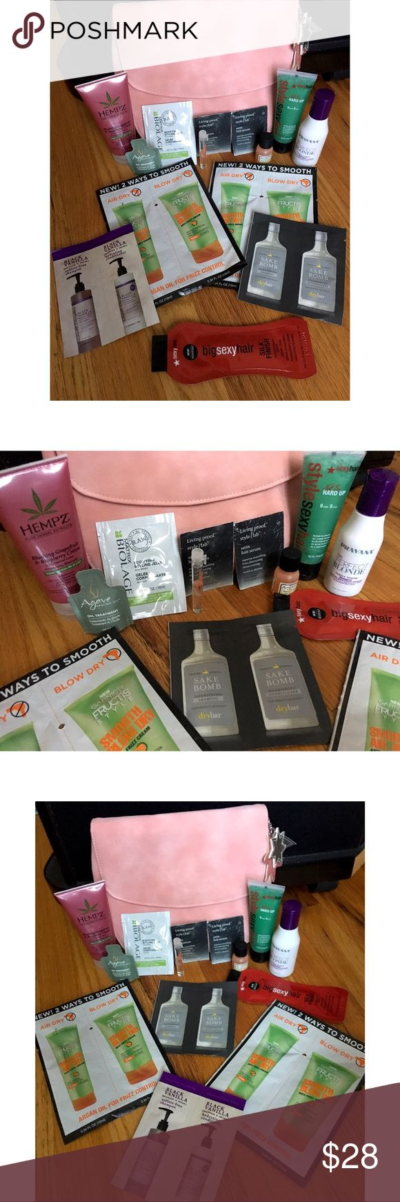 19 piece Hair Care sample set with suede clutch Includes:  - Dry Bar Sake Bomb Shampoo/Conditioner .23 oz - (2) Living Proof satin hair serum .25 oz - Bumble and Bumble Hairdresser Invisible Oil (55% of bottle) - Biolage Bodifying Styling Jelly .34 oz - Carols Daughter Black Vanilla Sulfate Free Shampoo & Hydrating Conditioner .24oz - Pravana The Perfect Blonde Purple Toning Shampoo. Sulfate Free. 2.03 oz - (2) Garnier Fructis Argan Oil Anti Frizz Cream for Air(2)/Blow(2) Dry .34 oz…