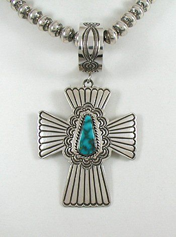 Authentic Native American Navajo stamped Sterling Silver large turquoise Cross pendant
