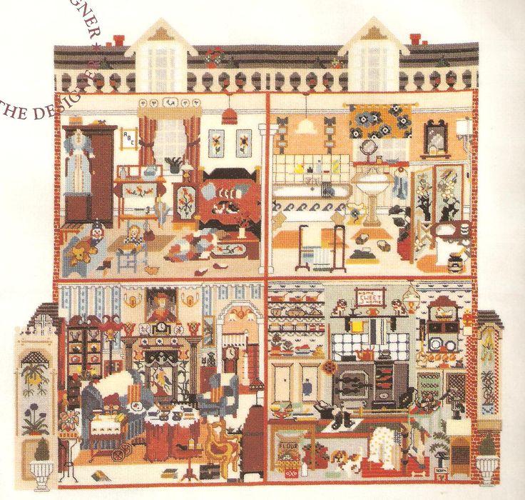 cross stitch doll house - Google Search