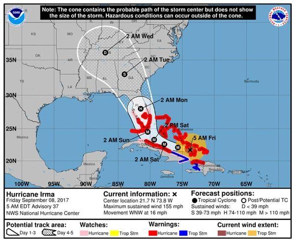 EN VIVO: Irma llegó a Bahamas con intensidad categoría 4 y sigue rumbo a Florida