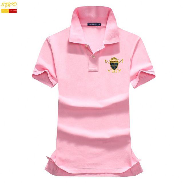 2016 новое лето причинно женщины рубашки поло вышивка Знак дышащий хлопок твердые женщины рубашка с коротким рукавом тонкий рубашки T0004