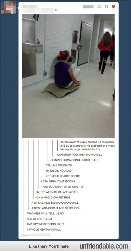 This guy is wonderful. But the tumblr comments are the best part! A Whole New Halllllll