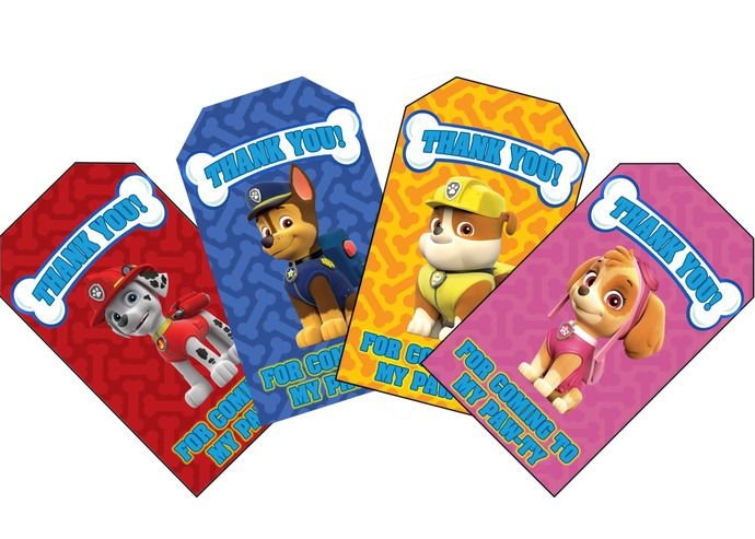 Paw Patrol Themed Birthday Favor Tags. Download and Print 8 Unique Paw Patrol