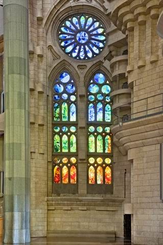 Stained glass,Sagrada Familia, Barcelona. Antonio Gaudi, architect.  One of my favorite cities.