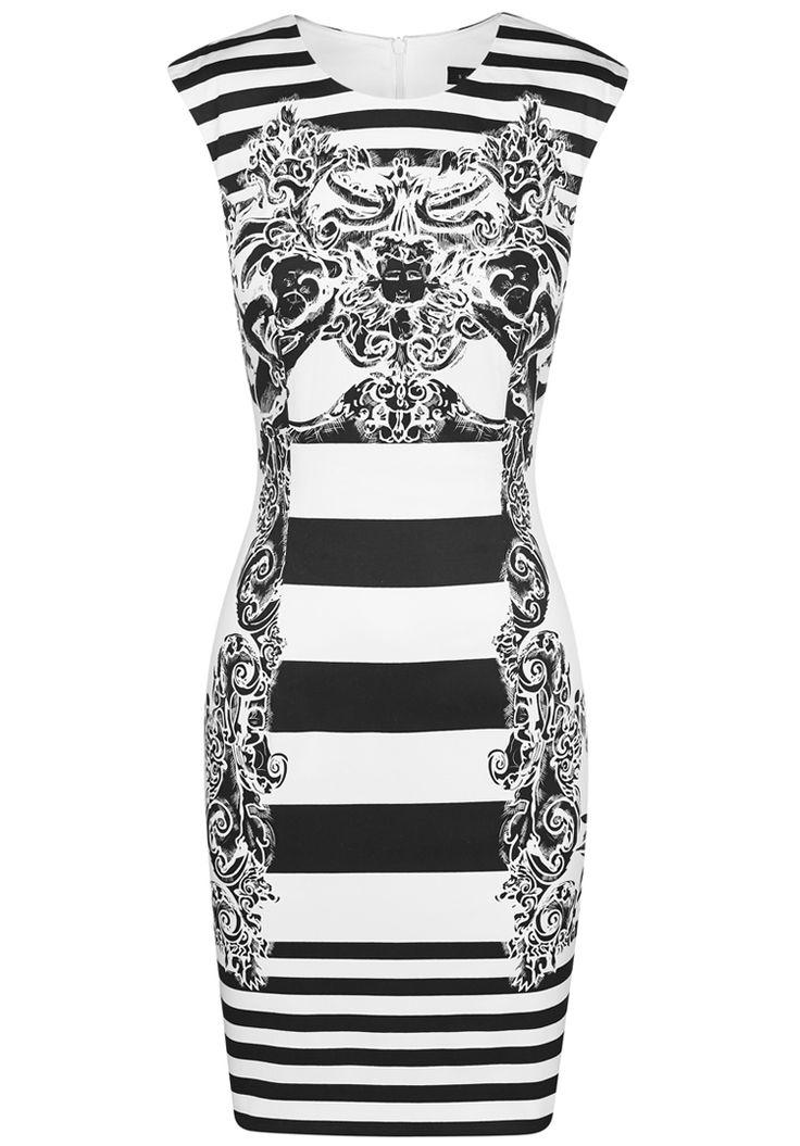 Black White Striped Floral Dress