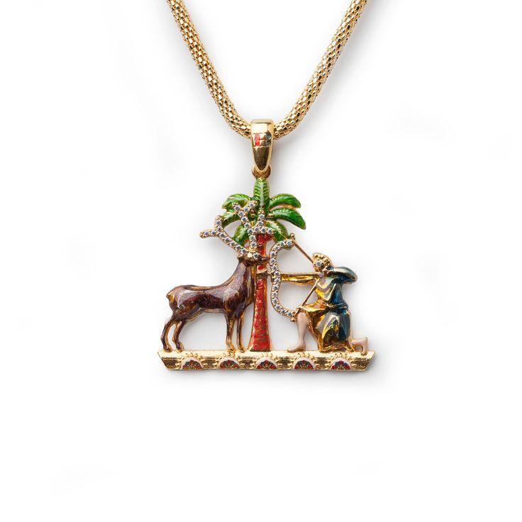 """Ciondolo in argento sterling 925 placcato oro e smalti.  Il nome """"Gioaria """" deriva dall'arabo al-jawhariyya, che significa """"l'ingioiellata"""": la Torre era così chiamata per la sua opulenza, grazie ai soffitti decorati con tessere d'oro che compongono l'idea di un giardino dell'Eden.  #IsolaBellaGioielli #IsolaBellaJewels #Jewelry #Joharia #Necklace #Pendant #MadeinSicily #Sicily #Sicilia"""