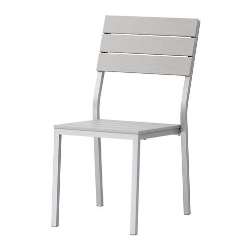 Potential outdoor chair: FALSTER Chair IKEA Can be stacked, which helps you save space. Polystyrene slats are weather-resistant and easy to care for.