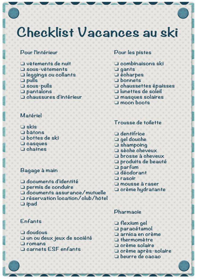 Checklist valise ski