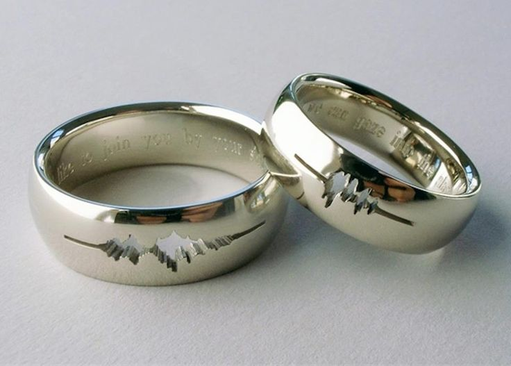 "The carving in each ring is made using the sound waves recorded by your spouse whispering ""I love you""!"