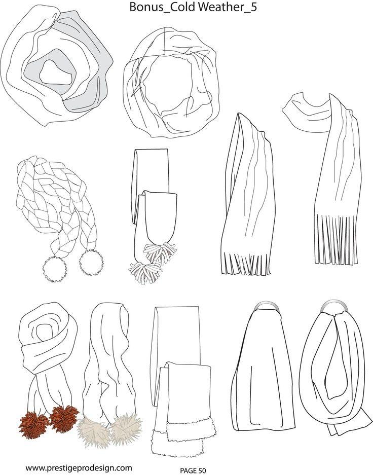 scarf fashion sketch flat - Google Search