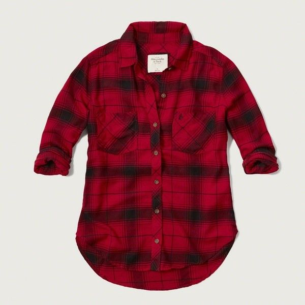 Abercrombie & Fitch Plaid Flannel Shirt ($39) ❤ liked on Polyvore featuring tops, red and black plaid, plaid flannel shirt, tartan shirt, all-over print shirts, print shirts and flannel button down shirt