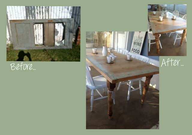 Upcycling Before - an old door after - a beautiful wooden table
