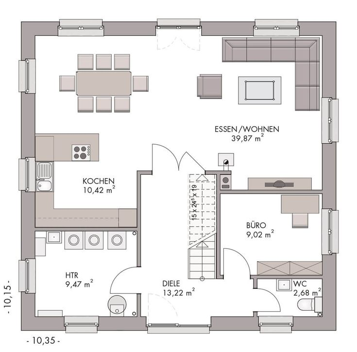 Grundriss Erdgeschoss – ECO Massivhaus Stadtvilla …