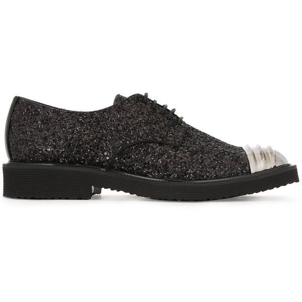 Giuseppe Zanotti Design 'Andie' Derby shoes ($895) ❤ liked on Polyvore featuring men's fashion, men's shoes, men's dress shoes, black, shoes, mens leather lace up shoes, mens derby shoes, mens lace up dress shoes, mens glitter shoes and mens black cap toe shoes