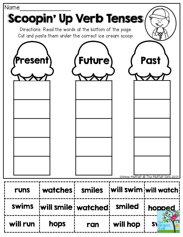Scoopin' Up Verb Tenses- Read the words at the bottom of the page.  Cut and paste them under past, present or future. Have fun this summer with the Summer Review NO PREP Packets!