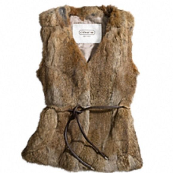 """COACH 100% NATURAL RABBIT FUR VEST F83992 RABBIT FUR VEST COACH F83992 New with tags (not attached - see picture) Free coach authentic storage bag with purchase  Details. Shell: 100% natural rabbit fur Lining: 100% polyester 20"""" from armpit to armpit -  26"""" length from shoulder COACH MSRP:$798 Coach Jackets & Coats"""