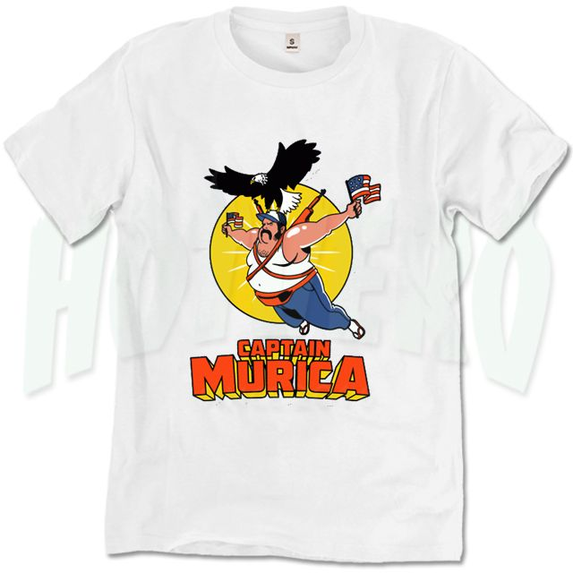 Captain Murica Funny Character T Shirt //Price: $14.00//     #cheapurbanclothing