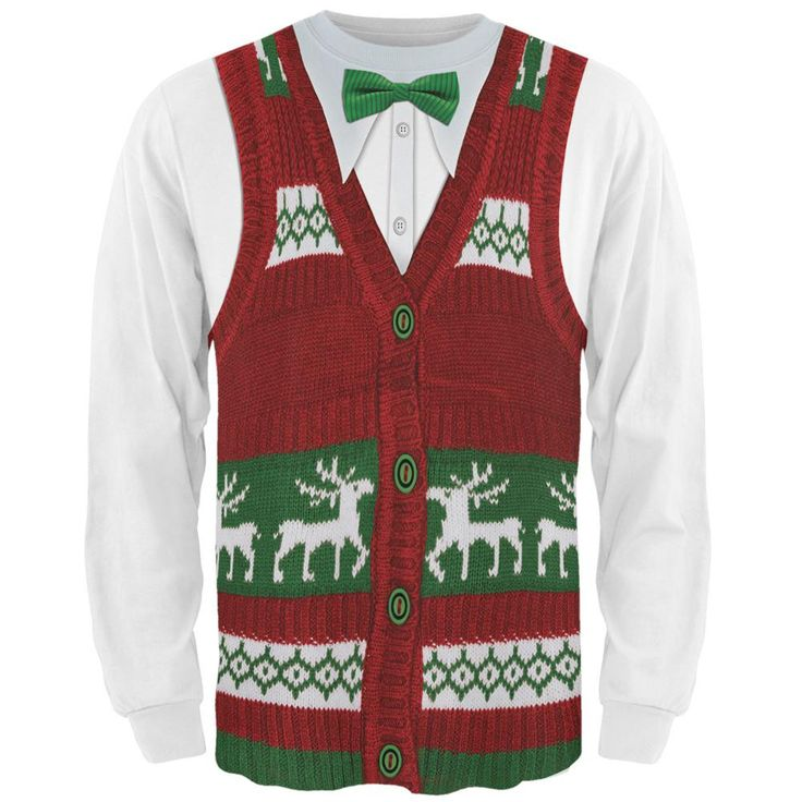Ugly Christmas Sweater Vest All Over Adult Long Sleeve T-Shirt