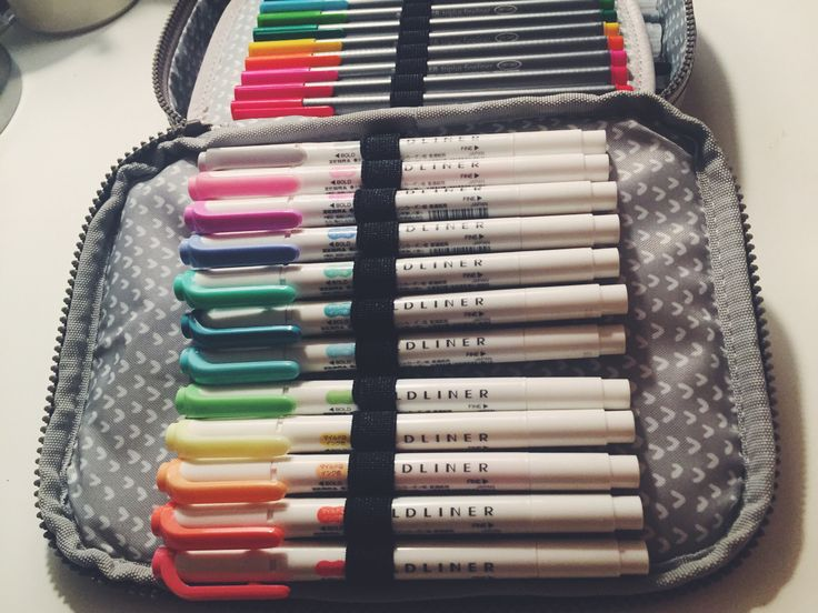 """senioryearandastudyblr: """"//here's a look inside my pit of a pencil bag! It's a Kipling 100 pens case and I love it! :))\ """""""