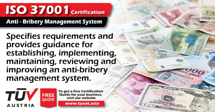 ISO 37001 Certification is designed to help your organization implement an anti-bribery management system or enhance the controls you currently have. For further information visit: tuvat.asia/get-a-quote or call Pakistan: +92 (42) 111-284-284 | Bangladesh +880 (2) 8836404 to speak with a representative. #ISO #TUV #certification #inspection #pakistan #iso9001 #bangladesh #lahore #karachi #dhaka