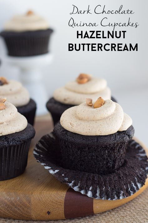 Check out these dark chocolate quinoa cupcakes with hazelnut buttercream. The quinoa lends a nutty, almost smoky flavor and it pairs well with the frosting!